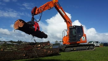 Doosan 14.2t excavator with grapple attachment & buckets